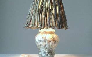 beach inspired weathered twig lamp shade, how to, lighting, repurposing upcycling, rustic furniture