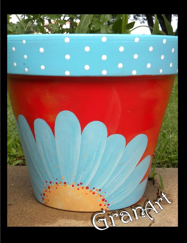 Painted clay pots by granart hometalk for Big pot painting designs