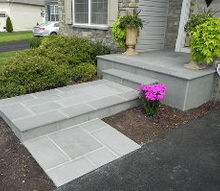 updating front entrance with flagstone, concrete masonry, curb appeal, landscape, stairs