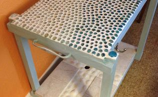 upcycled cart, crafts, how to, painted furniture, tiling