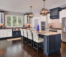 open floor plan ohio home in dramatic black and white, home decor, kitchen design, kitchen island