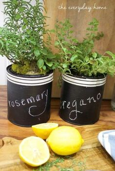 paint can chalkboard herb pots, chalkboard paint, container gardening, crafts, diy, gardening, repurposing upcycling