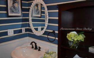 how to add instant style to a powder room with fabric walls and chair rail, bathroom ideas, reupholster, wall decor