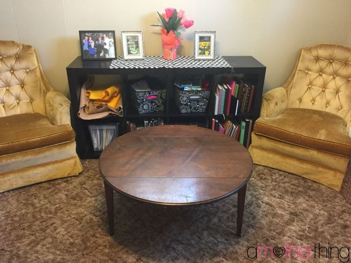 Coffee table revamp using wrapping paper and mod podge for Revamp coffee table