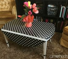 coffee table revamp using wrapping paper and mod podge, decoupage, painted furniture, repurposing upcycling