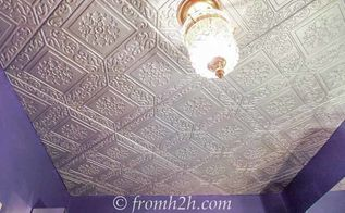 how to cover a popcorn ceiling by installing faux tin, how to, wall decor