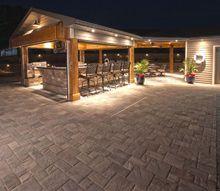 outdoor living room, concrete masonry, outdoor furniture, outdoor living