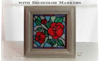 reverse glass painting with decocolor markers, crafts, how to