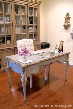 a french country study office makeover, living room ideas