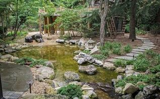 natural playscapes pond and playground oasis in city backyard, outdoor living, ponds water features, Natural Playscape with Pond