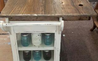 diy barnwood top rustic kitchen island, kitchen design, kitchen island, repurposing upcycling, rustic furniture