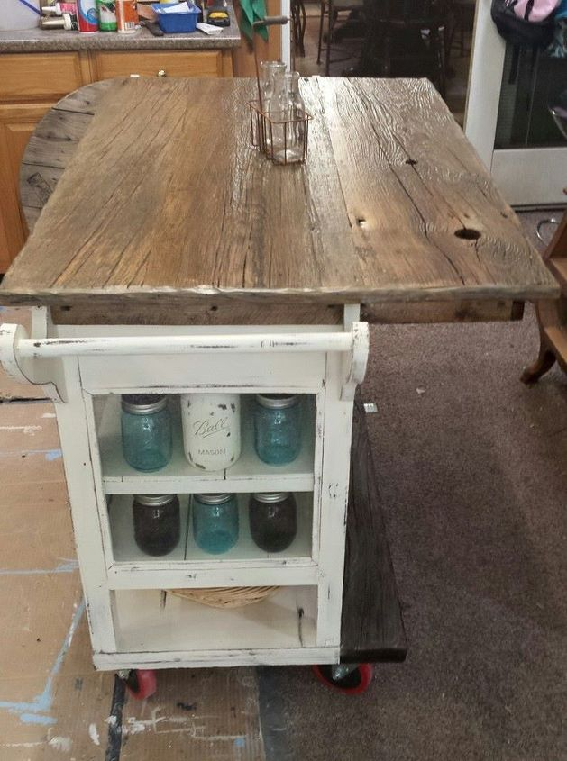 Diy Barnwood Top Rustic Kitchen Island Kitchen Design Kitchen Island Repurposing Upcycling