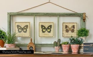 thow to turn old window frames into botanical butterfly wall art, crafts, diy, home decor, wall decor, windows