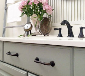 melamine powder room vanity makeover without stripping sanding or pr bathroom ideas chalk paint - Powder Room Vanities