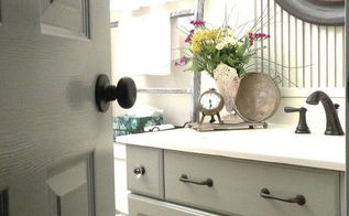 melamine powder room vanity makeover without stripping sanding or pr, bathroom ideas, chalk paint, repurposing upcycling