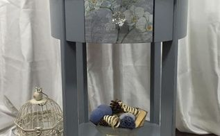 painted side table with sparkly flower print, painted furniture