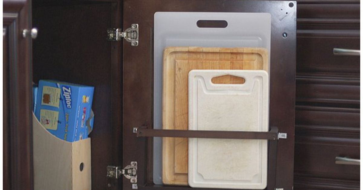 Diy Vertical Behind The Cabinet Door Cutting Board Holder