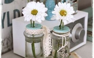 how to reuse empty spice bottles as whimsical bud vases, crafts, repurposing upcycling