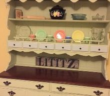 painted vintage ethan allen hutch, painted furniture, Complete with my Hazel Atlas sherbet cups