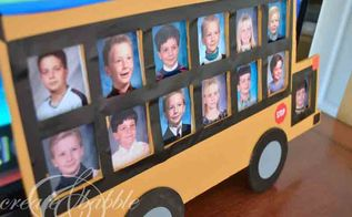 school bus photo frame, crafts