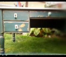 upcycled old wood desk, chalk paint, painted furniture, repurposing upcycling