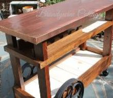 bar cart from recycled pieces, outdoor living, repurposing upcycling, woodworking projects
