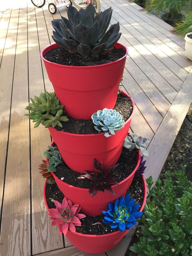How to make a tiered succulent planter hometalk - How to make a succulent container garden ...