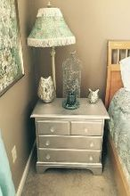 refinished nightstand with mirror paint, bedroom ideas, painted furniture, repurposing upcycling