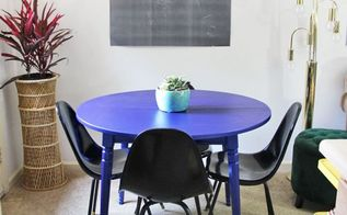 metallic blue kitchen table painting, kitchen design, paint colors, painted furniture