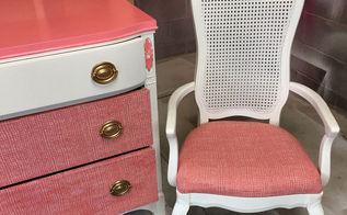 coral ivory dresser makeover, painted furniture, reupholster