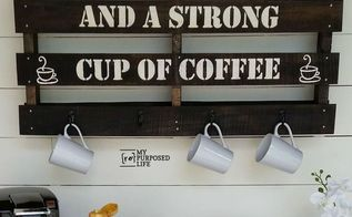 easy stenciled pallet sign coffee cup rack, crafts, pallet, repurposing upcycling