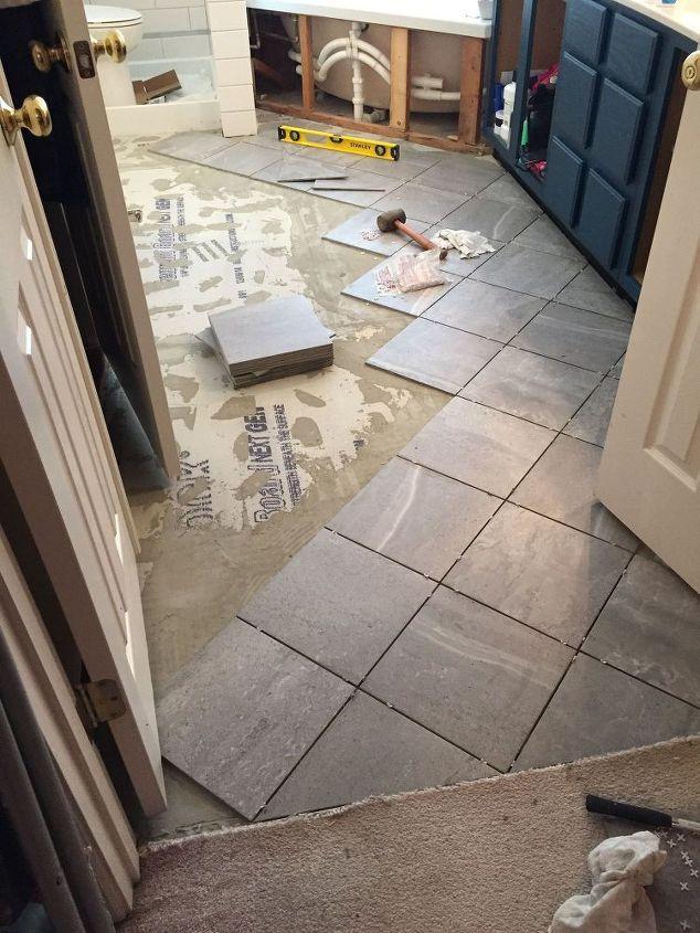 Carpeted Bathroom Gets A New Tile Floor Bathroom Ideas Diy Flooring Tiling