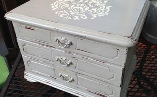 thrift store makeover stenciled jewelry box, painted furniture, repurposing upcycling