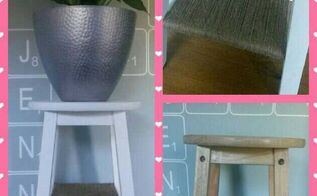 repurposed stool into plant stand or bedside table, repurposing upcycling