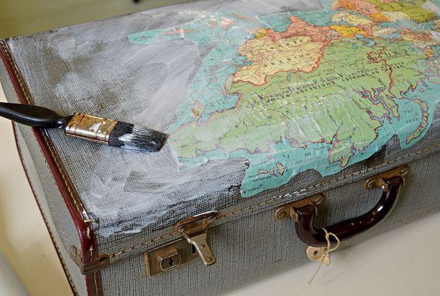 Vintage Map Suitcase Storage | Hometalk