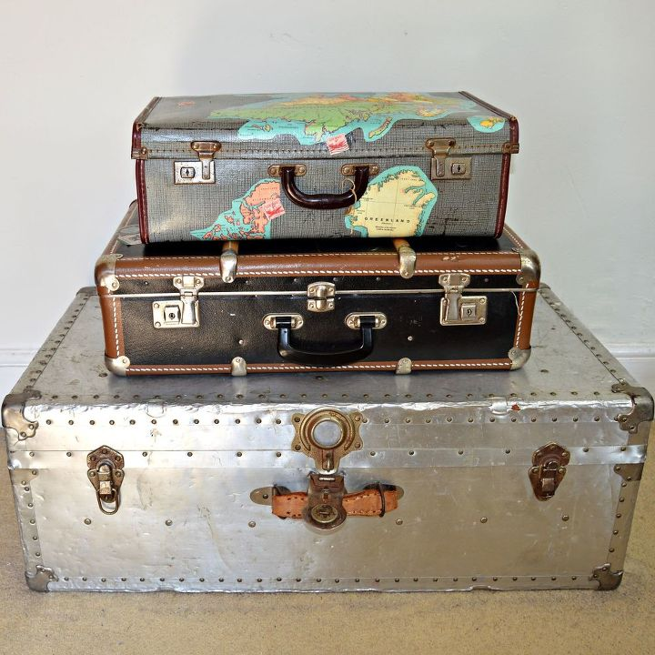 Vintage Map Suitcase Storage | Hometalk