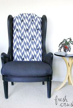 diy thrifted cane wing chair makeover, painted furniture, repurposing upcycling