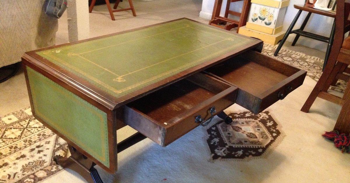 green leather top drop leaf coffee table info | hometalk