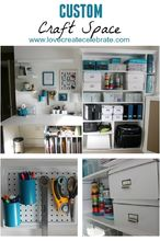 custom craft space, craft rooms, organizing, shelving ideas, storage ideas