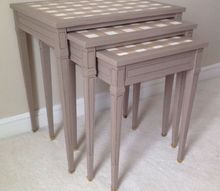 mcm nesting tables gingham style, painted furniture