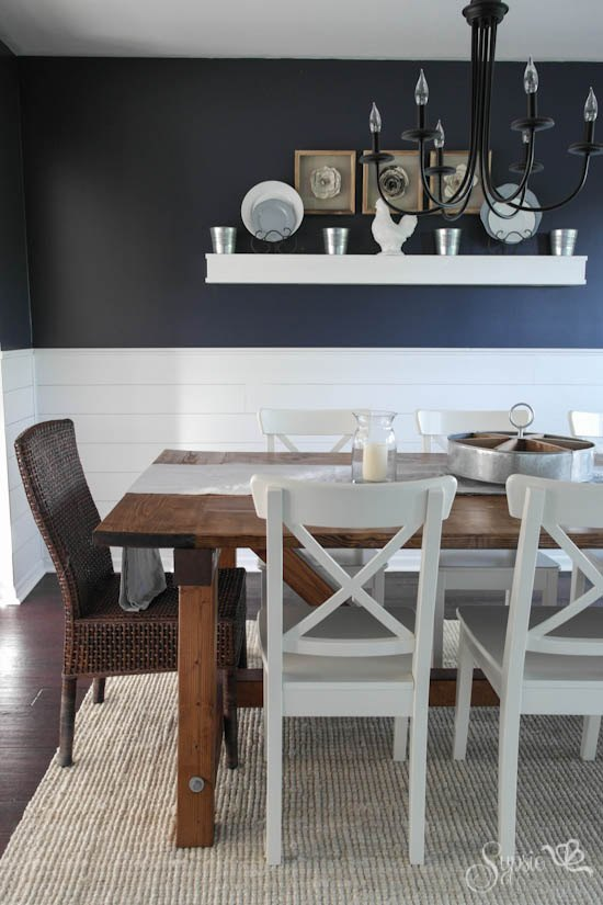Farmhouse table and dining room makeover hometalk for Painted dining room furniture ideas