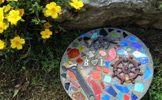 diy stained glass stepping stone, concrete masonry, crafts