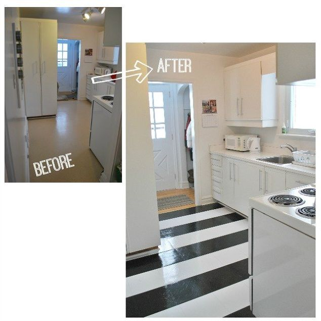 Black Vinyl Kitchen Flooring: How To Lay Vinyl Black And White Flooring (In Stripes!)
