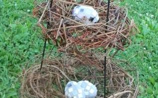 grapevine nest display from a tomato cage, crafts, repurposing upcycling
