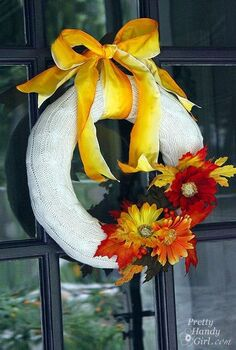 make your own fall wreath from a goodwill sweater, crafts, repurposing upcycling, wreaths