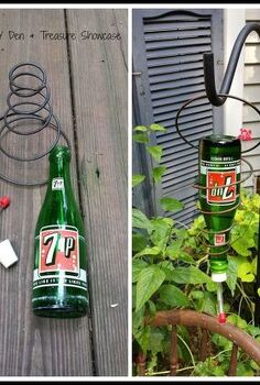 vintage soda bottle bedspring hummingbird feeders, outdoor living, repurposing upcycling