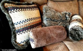 sweater and faux fur pillow covers creativecraftchallenge, crafts, repurposing upcycling