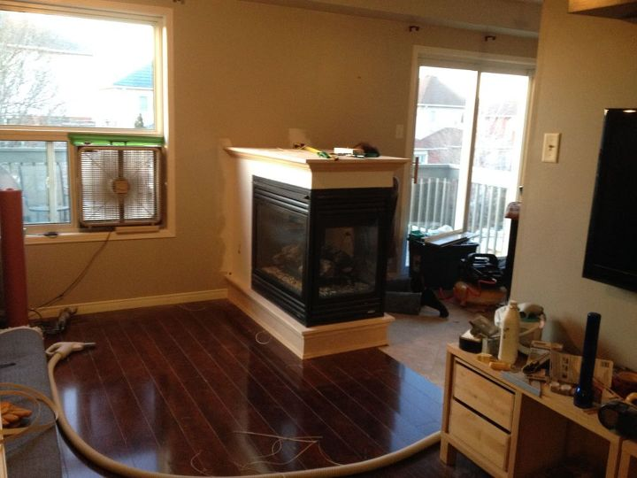 We removed a half wall and added a 3 sided fireplace for Dining room half wall ideas