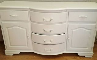 shabby white credenza finished before lunch, painted furniture, shabby chic, After