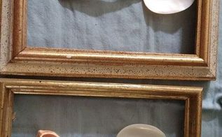 4 thrift store frames 1 thrift store pillow case and 4 caviar spoons, crafts, wall decor